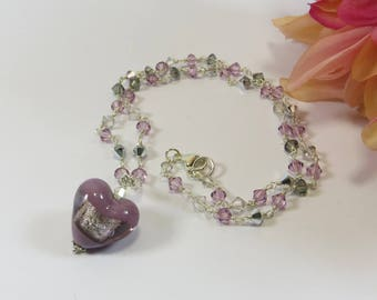 Murano Heart Necklace w Swarovski Crystal and Sterling Silver Handmade Chain, Lilac Amethyst Murano Glass Heart w Swarovski Sparkling Chain