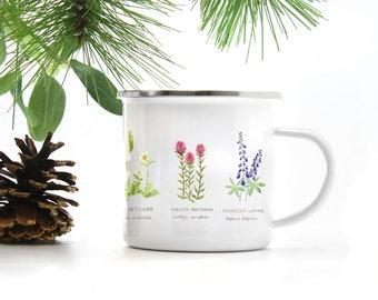 Wildflowers Camp Mug / Camp Mug / Oregon Mug / Northwest Flowers Mug / Pacific Northwest Mug / Camping Mug / Wildflowers Mug / Cast Iron Mug
