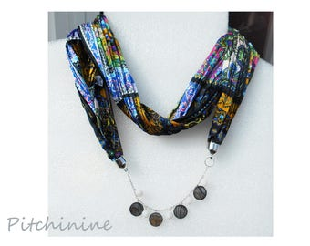 Necklace multicolor scarf embellished with Pearl black gold and white dragon agate beads pucks