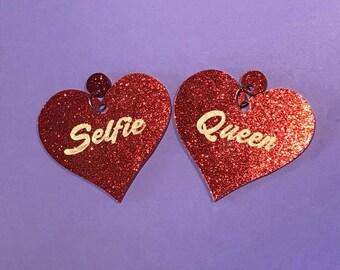 Selfie Queen Heart Earrings - lasercut acrylic