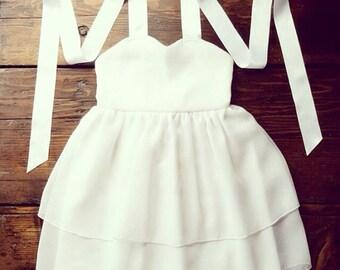 White Chiffon Flower Girl Dress - White  flowergirl dress - Toddler chiffon dress - Special Occasion dress - girls chiffon dress - Custom Dr