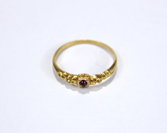 Tiny Garnet and 18 KT Yellow Gold Victorian Scroll Ring