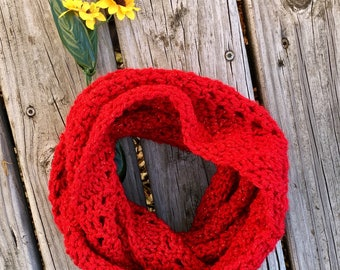 Ready to Mail Red Sparkle Cowl Womens Small chunky knit, womens cowl, sassenach claire, chunky cowl, Miss claire Cowl, Claire Scarf