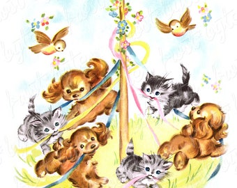 Dogs, Cats and Birds Maypole Image Vintage - Downloadable digital image file - instant download - use for scrapbooking, card making etc