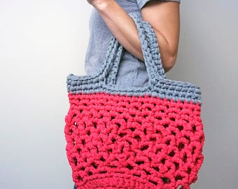 eco shoulder bag, crocheted bag, pink and grey bag, holiday beach bag, knitted tote bag, string style shopper, eco gift