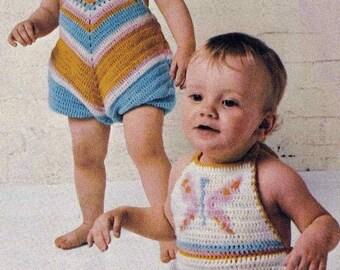 PDF Vintage Crochet Pattern Baby Toddler Sun Suit