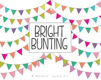 Bunting Clipart - Bunting Banner Clip Art - Hand Drawn Bunting Clipart - Bunting Banner - clip art elements