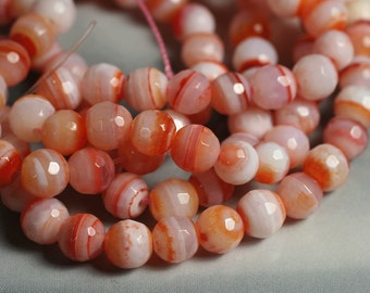 Pink banded agate faceted round 6mm, one 15-inch strand (item ID GZBOR)