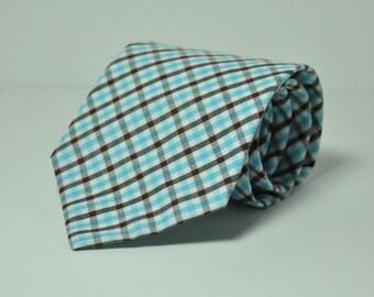 Men's Necktie - Blue and Brown Plaid Men's Tie - Fall Plaid Necktie