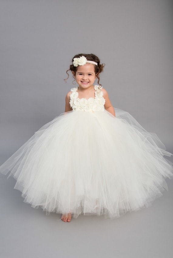 Princess Beaded Ivory Lace Tulle Ruffle Horsehair Hem ... |Flower Girl Dress Brooches