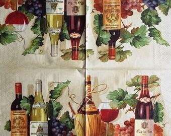 TOWEL in paper wine and grape #AL089