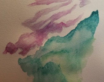Evergreen Mountain, New England Forest, Pine Trees, Green Painting, Original Watercolor,  Purple Clouds