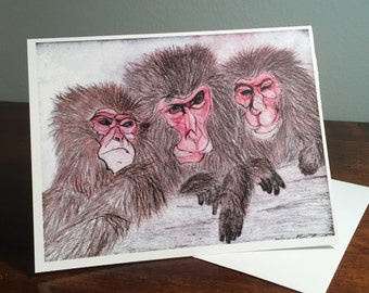 Japanese Macaque: 3 Friends Greeting Card