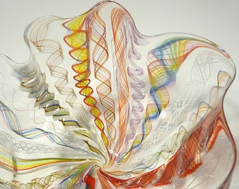 "9"" Elegant Hand Blown Glass Bowl/Vase - Original Design by Dirwood Glass - Complex Glass Cane Process"