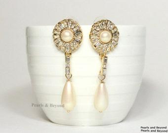 Flower Pearl Rhinestone Dangle Earrings