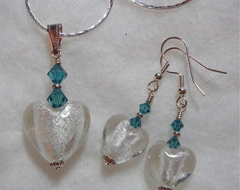 Silver Glass Bead Heart with Swarovski Blue Green Indicolite Earrings and Pendant Necklace