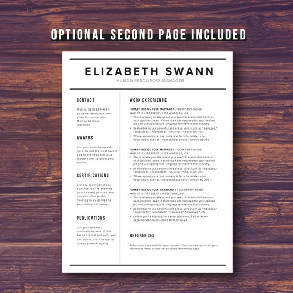 Resume template word free cover letter cv template resume template word free cover letter cv template teacher modern professional resume template design diy template instant download yelopaper Image collections