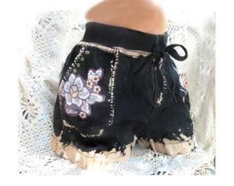 Black shorts - Acid washed shorts, studded shorts, grunge shorts,  size 18,  # 15