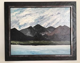 Welsh Kyffin Williams school oil on canvas by Welsh artist Owen Meilir expansive Welsh mountain scene