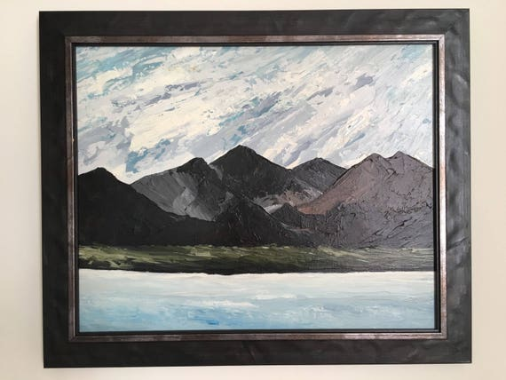 Welsh Kyffin Williams school oil on canvas by Welsh artist Owen Meilir expansive Welsh mountain scene