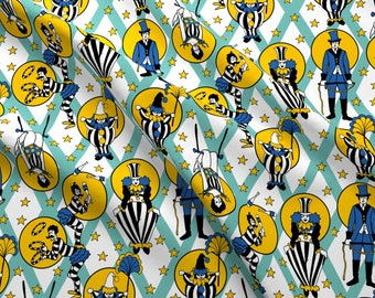 Retro Circus Performers Fabric - Circus Performers - Mint By Fernlesliestudio - Retro Circus Cotton Fabric By The Yard With Spoonflower