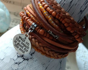 Lovely Boho Leather and Bead Wrap Bracelet or Necklace, Multi Strands of Leather in shades of Natural tans, rusts and orange beads