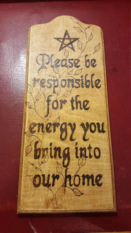 Wooden wall hanging. Wiccan pagan spiritual saying