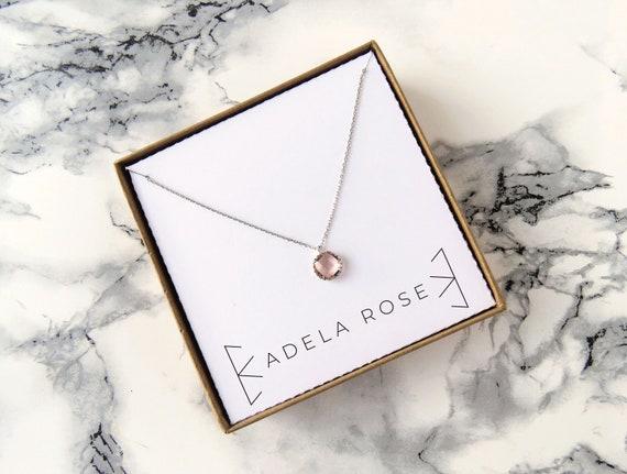 Dainty Peach Crystal Pendant Necklace, Dainty Necklace, Everyday Jewelry, Simple Necklace, Dainty Jewelry, Simple Jewelry, Gifts for Her