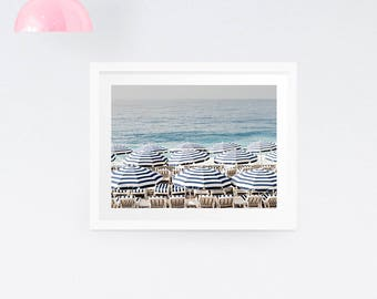 Aerial Beach Photography Print - Nautical Photography Print - Beach photography - Beach Umbrella Print