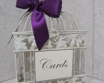 DIY Shabby Ivory Birdcage Wedding Card Holder / Bird Cage Cardholder Wedding Decoration