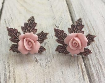 Hand made maple leaf post earrings with pink ceramic roses silver plated leaf jewelry nature floral