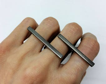 BIG silver ring, silver line ring,  silver statement ring, silver bar ring, silver minimalist ring, architectural ring, black silver ring