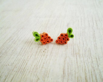 Stud Earrings Minimal Orange Neon Green Recycled Paper Eco-Friendly Summer Jewelry FREE SHIPPING / Σκουλαρίκια από χαρτί