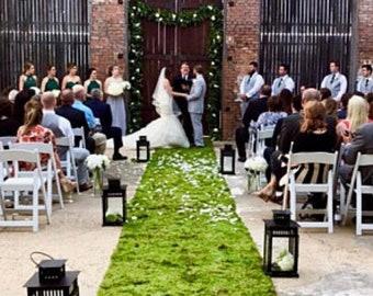 Custom moss aisle runner, custom length and width, natural preserved moss wedding decor