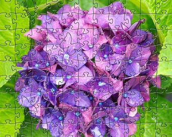 Hydrangea Zen Puzzle - Hand crafted, eco-friendly, American made artisanal wooden jigsaw puzzle