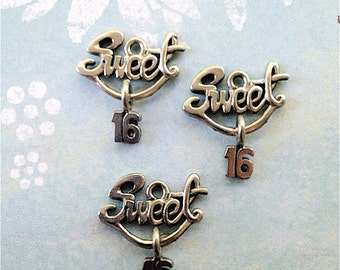 Sweet 16 Charms -20 pieces-(Antique Pewter Silver Finish)--style 726--