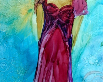 She Dances Alone Original 7x5 Alcohol Ink Painting on Yupo