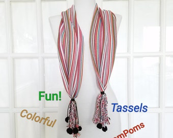 Pom Pom Tassel Scarf in Stripes Colorful Rainbow Scarves for Summer Fun for Any Age Stretch Knit Scarf Black Pom Pom Accents Gift for Her