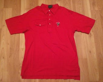 XL 80's Indian Spring Country Club mens golf shirt polo Izod Club red golfer polo 1980's