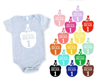 Birthday Bear with 1 Heather Grey Cotton One Piece Romper Bodysuit - Birthday Party Outfit, Family Photos, First Birthday, One