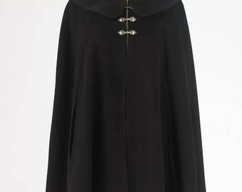 Black Wool Short Cape with Collar, Lined in Black Satin and Arm Slits. In Stock