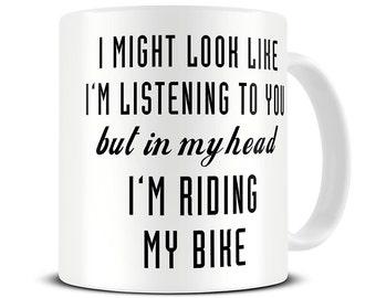 Bike Gifts - Gifts for Cyclists - Bicycle Mug - Cycling Gifts - Cycling Mug - In My Head I'm Riding My Bike Mug - MG506