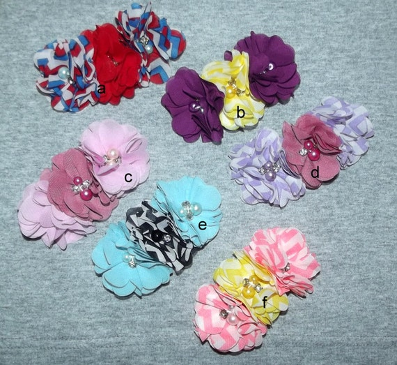 """Puppy Bows ~Big Girl chiffon flowers attached to 3"""" french barrette pink blue purple red ~Usa seller  (fb11)"""