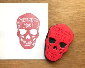 Skeleton stamp, skull stamp, memento mori stamp, remember death stamp, handmade skull rubber stamp, death stamp