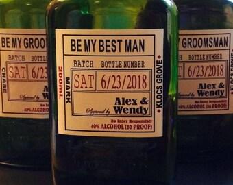 Groomsman Liquor Bottle Labels - Craft Liquor Bottle Labels - Will you be my - Front Labels - 1 label