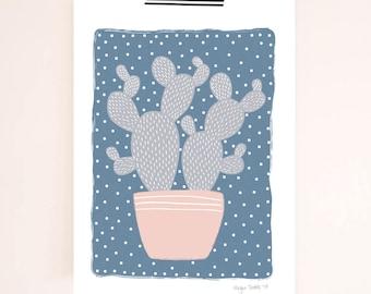 Pink & Blue Cactus Print | Cactus Art Print