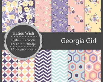Instant Download  floral and geometric digital kit commercial use jpg backgrounds for invitations, scrapbooking, sticker design