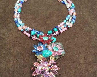 three strand petronella designs favorite beaded necklace with center drop
