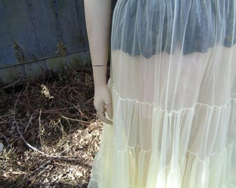 50s Square Dance yellow tiered net Nylon elegant long petticoat by Jeansvintagecloset on Etsy