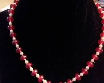 Ruby and Pearl jewelry set